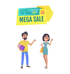 Mega sale and only limited time discount banner vector