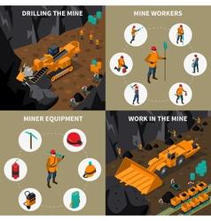 Miner People 2x2 Isometric Icons Set vector image