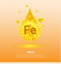 Mineral fe ferrum vitamin complex golden vector