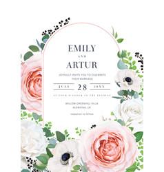 Modern elegant floral wedding invitation invite vector