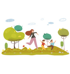 Mother with two sons running in forest or garden vector