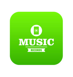music record icon green vector image
