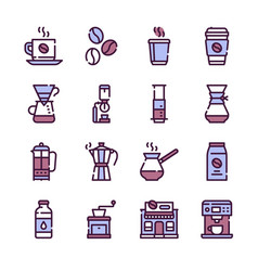 natural coffee color linear icons set vector image
