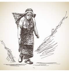 Nepalese woman vector