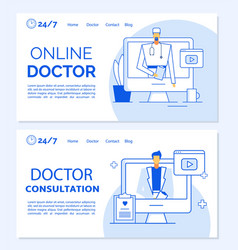 online doctor consultation medical landing page vector image