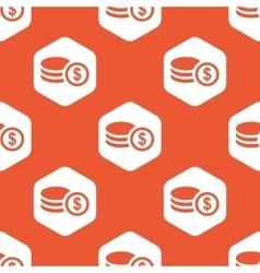 Orange hexagon dollar rouleau pattern vector
