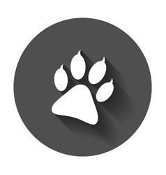 paw print icon dog cat bear paw symbol flat vector image