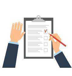 person fills in checklist with a pencil vector image