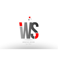 red grey alphabet letter ws w s logo combination vector image