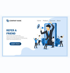 refer a friend concept with businessman shout vector image
