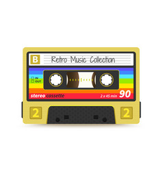 Retro cassette vintage 1980s mix tape stereo vector