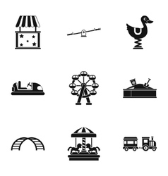 Rides icons set simple style vector image