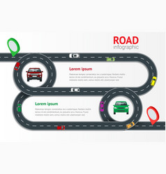 Road infographic template with colorful pin vector