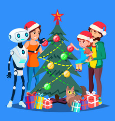 Robot helps to decorate christmas tree for happy vector