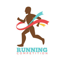 Running competition logo label with male athlete vector
