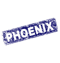 Scratched phoenix framed rounded rectangle stamp vector