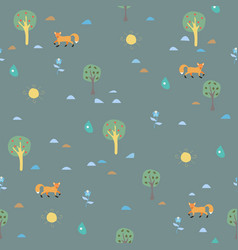 seamless pattern with orange foxes vector image