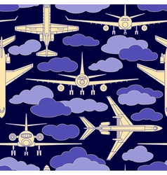 seamless pattern with passenger airplanes 02 vector image