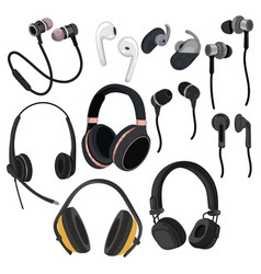 Set headphones collection various devices vector