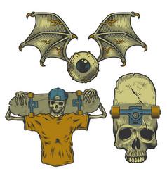 Set of skateborading objects vector