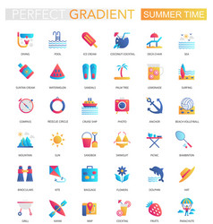 set trendy flat gradient summer time vector image