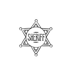 sheriff star hand drawn outline doodle icon vector image