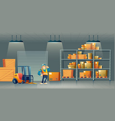 Shipment company warehouse worker carton vector