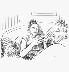 sketch young girl sitting in bed using vector image