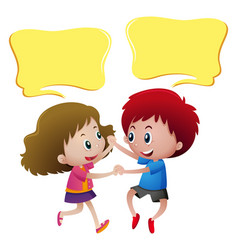 Speech bubble template with kids dancing vector