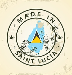 Stamp with map flag of Saint Lucia vector