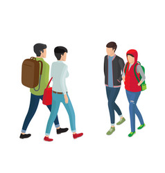 Student or college girl and boy cartoon characters vector
