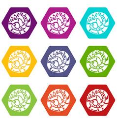 sushi japan icons set 9 vector image