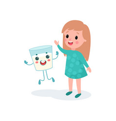 Sweet girl having fun with humanized glass of milk vector