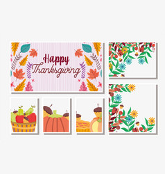Thanksgiving cards set food and foliage leaves vector