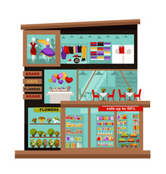 Three-story mall with various kinds shops vector
