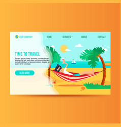 tourism agency flat landing page template vector image