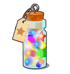 transparent glass bottle with multicolored vector image