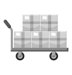 Truck with boxes icon gray monochrome style vector image