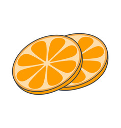 two slices of orange hand drawn image fruity icon vector image