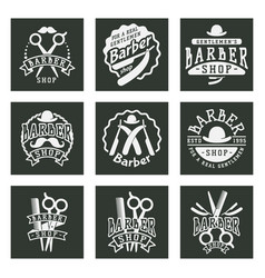 vintage barber logo retro style typography vector image