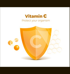 Vitamin c concept 3d shield with molecule vector