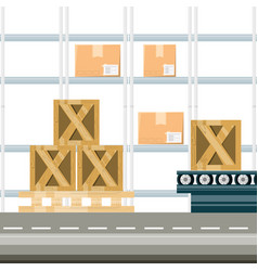 warehouse with boxes for shipping vector image