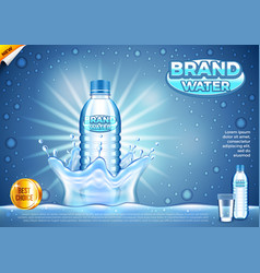 Water ads plastic bottle in splashes background vector