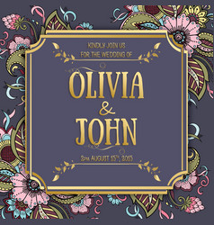 Wedding invitation and announcement card vector