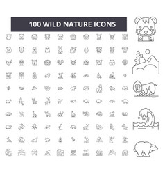 wild nature editable line icons 100 set vector image