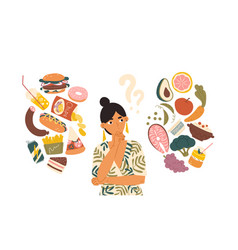Woman choosing between healthy and unhealthy food vector