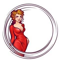 women in elegant red dress vector image