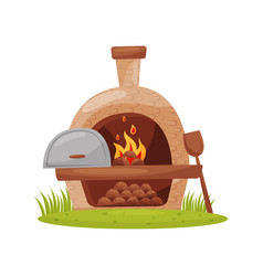 Wood-fired outdoor oven on green lawn farm stone vector