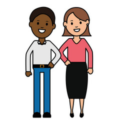 young interracial couple characters vector image