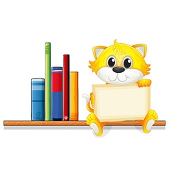 A cat holding an empty board above the wooden vector image vector image